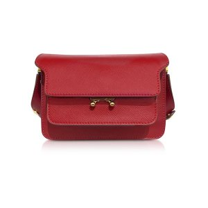 Marni Red Saffiano Leather Mini Trunk Bag