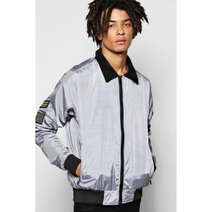 Badged Harrington Jacket with Borg Collar | Boohoo