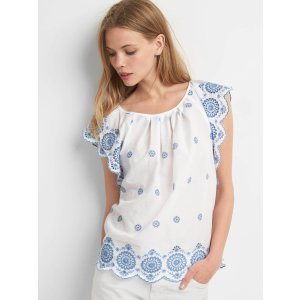 Embroidery flutter sleeve top | Gap