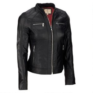 WILSONS LEATHER VINTAGE MOTO LEATHER JACKET W/ METALLIC ACCENTS