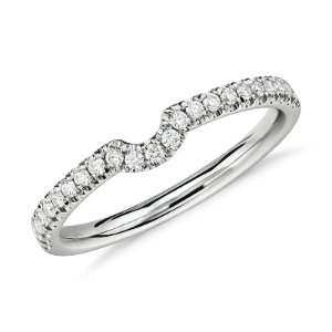 Classic Curved Pave Diamond Ring in 14k White Gold (1/6 ct. tw.) | Blue Nile