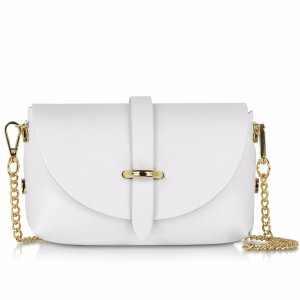 Le Parmentier Caviar Small White Leather Shoulder Bag at FORZIERI