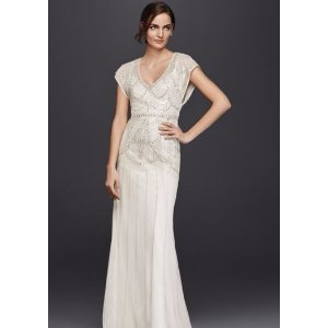 Beaded Sheath Wedding Dress with Blouson Bodice - Davids Bridal
