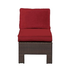 Hampton Bay Beverly Patio Sectional Middle Chair with Cardinal Cushion-65-510233M - The Home Depot