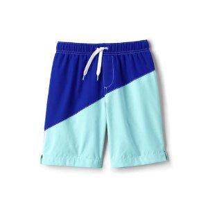 Boys Slim Diagonal Colorblock Swim Trunks