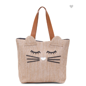 Cat Face Straw Tote