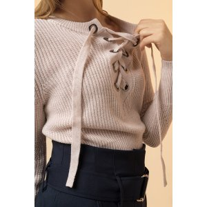 Lace Up Wool Blend Knit Sweater