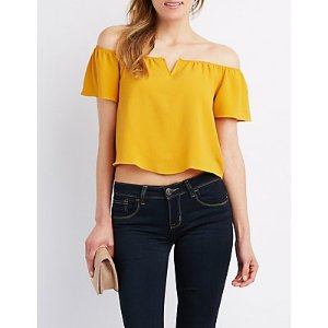 Notched Off-The-Shoulder Top | Charlotte Russe