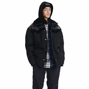 TUXEDO TWILL AND LEATHER DOWN WESTERN PARKA