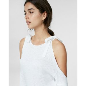 Ribbon Tie Cold Shoulder Sweater | Express