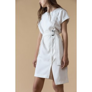 Belted Wrap Mini White Dress – Genuine People