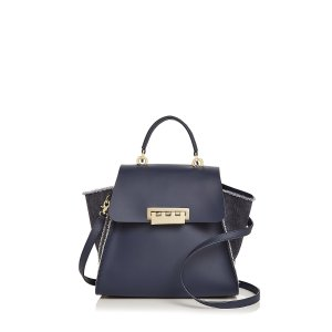 Eartha Iconic Denim Panel Top Handle Leather Satchel