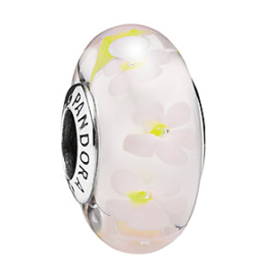 PANDORA Silver Field Of Daisies Murano Glass Charm