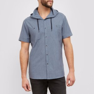 Short-Sleeve Hooded Chambray Shirt | Kenneth Cole