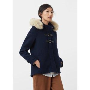 Faux-fur wool-blend duffel coat - Women
