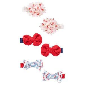Kid Girl 6-Pack Bow & Plume Hair Clips | OshKosh.com