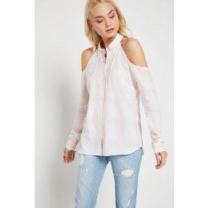 Plaid Cold-Shoulder Shirt