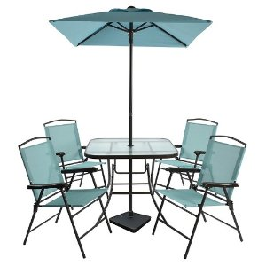7pc Sling Folding Patio Dining Set - Turquoise - Room Essentials™ : Target