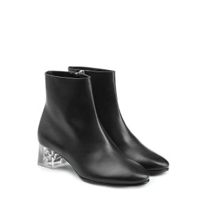 Leather Ankle Boots with Skull in Heel - Alexander McQueen