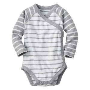 Hanna Andersson Heather Gray & White Stripe Organic Cotton Crossover Bodysuit | zulily