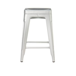 Home Decorators Collection Garden 24 in. Brushed Aluminum Bar Stool-1042700200 - The Home Depot