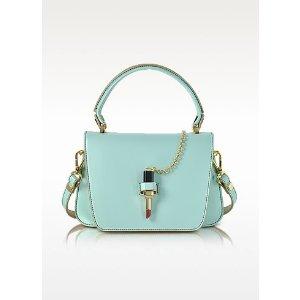 Giancarlo Petriglia Sky Blue Leather Mini Queen Bag w/Lipstick
