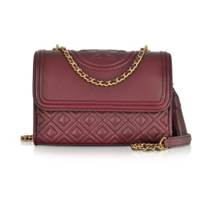 Tory Burch Fleming Imperial Garnet Leather Small Convertible Shoulder Bag