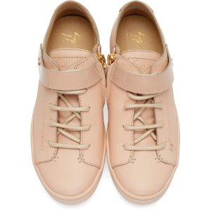 Giuseppe Zanotti: Pink Leather Strap Sneakers
