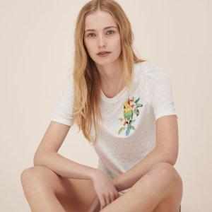 TAO Embroidered linen T-shirt - Tops & T-Shirts - Maje.com
