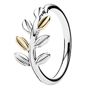 PANDORA 14K & Silver Laurel Leaves Ring