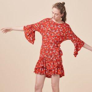 RAHIMI Printed dress with frills - Dresses - Maje.com