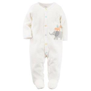 Baby Girl Terry Snap-Up Sleep & Play | Carters.com