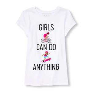 Girls Short sleeve 'Girls Can Do Anything' Active Emoji Graphic Tee   The Children's Place