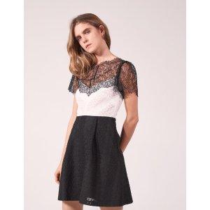 Two-Tone Lace Dress - Dresses - Sandro-paris.com