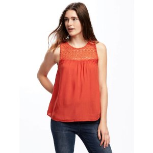 Crochet-Yoke Tank for Women | Old Navy