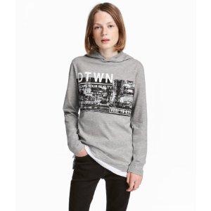 Jersey Hooded Shirt | Gray melange | Kids | H&M US
