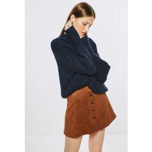 Button-Down Coffee Mini Skirt SK0234