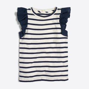 Girls' striped flutter sleeve tank top : FactoryGirls tank tops   Factory