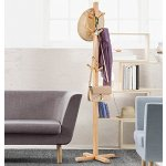 LANGRIA Bamboo Coat Rack Display Stand Hall Tree with 3 Tiers 12 Hooks and Levelling Feet Base for Clothes Scarves and Hats, Bamboo Natural Color