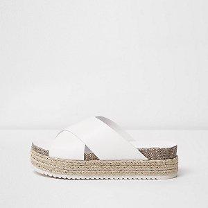 White cross strap flatform espadrilles - sandals - shoes / boots - women
