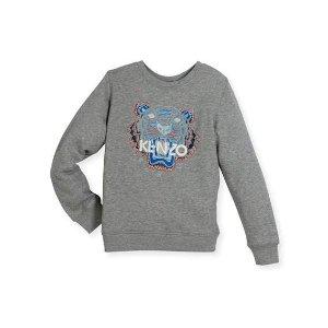 Kenzo Heathered Logo Sweatshirt, Gray, Size 8-12