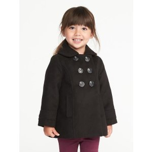 Double-Breasted Peacoat for Toddler Girls