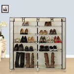 SONGMICS 7-Tier Portable Shoe Rack Organizer 36-Pair Shoe Storage Cabinet Beige