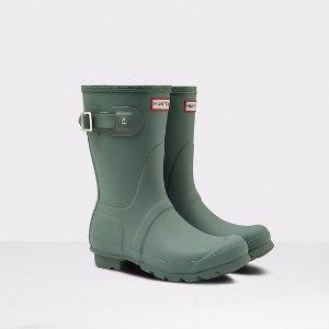 Womens Green Short Rain Boots | Official US Hunter Boots Store