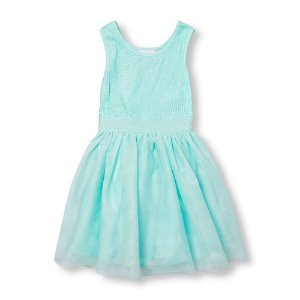 Girls Sleeveless Sequin Mesh Dress   The Children's Place