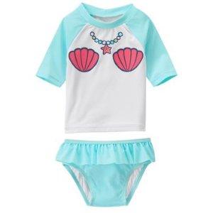 Baby Pool Blue Mermaid Rashguard Set by Gymboree