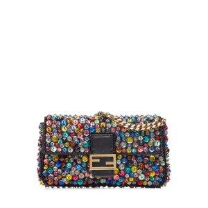 Embellished Leather Micro Baguette Shoulder Bag - Fendi