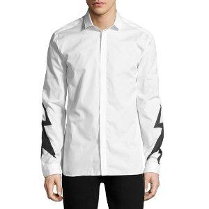 Neil Barrett Lightning Bolt Print Shirt, White
