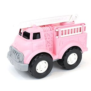 Green Toys Fire Truck Vehicle Toy, Pink, 11 x 6.5 x 7.5