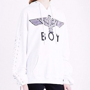 $103Boy London Lace-up sides cotton-jersey hoody @ Selfridges